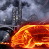 Burning car wallpaper