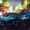 mazda rx7 blue car wallpaper
