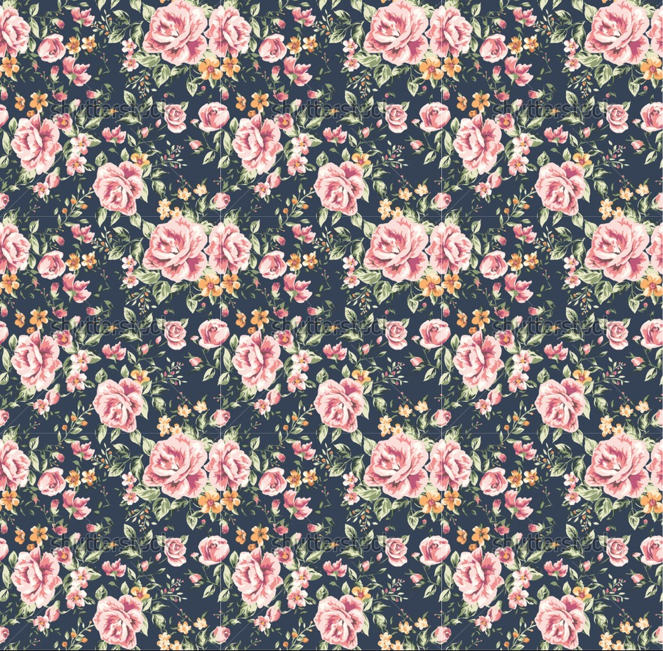 vintage flower pattern on navy background hd wallpapers